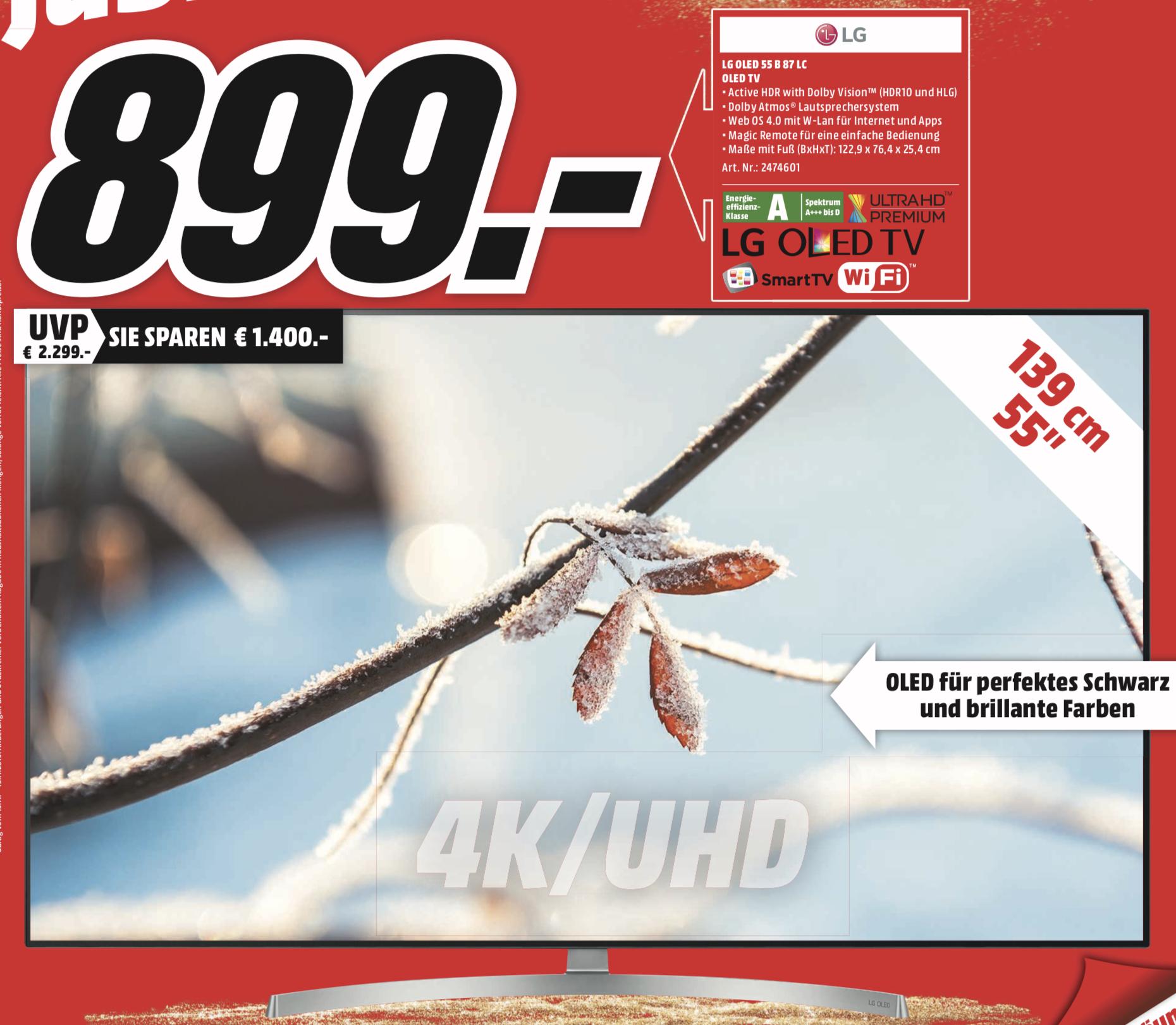 Lokal MM Hamburg: LG OLED55B87LC 139cm 4K UHD OLED TV für 899€