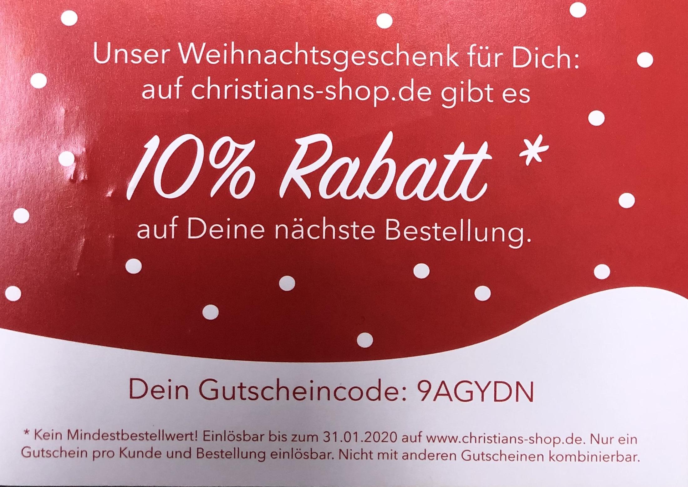 10% Rabatt bei Christians Technikshop ohne MBW