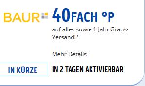 (Payback) 40x Punkte (20% Cashback) bei baur.de