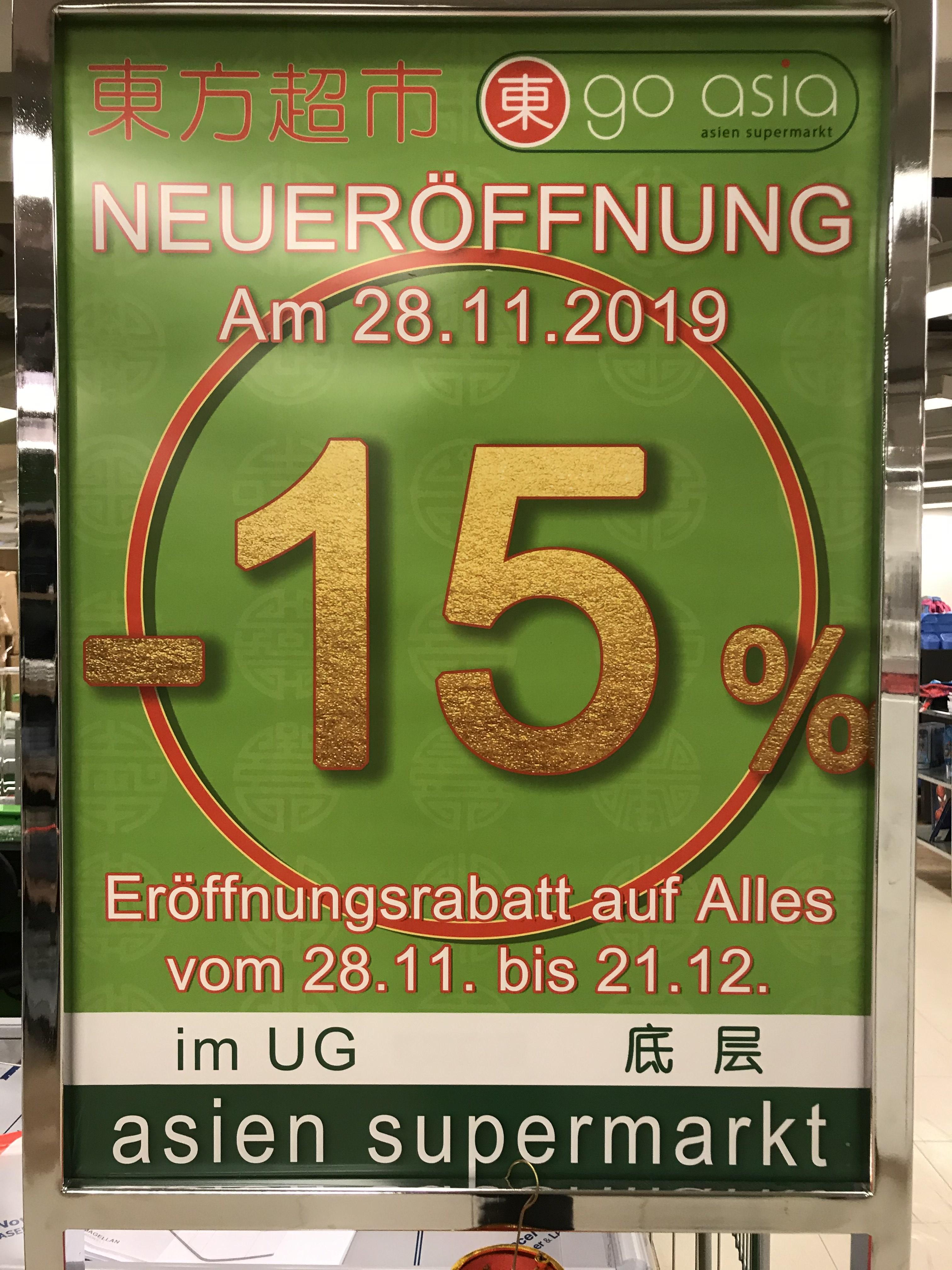 [Lokal Berlin] Go Asia Store -15% Rabatt auf alles (28.11.-21.12.)