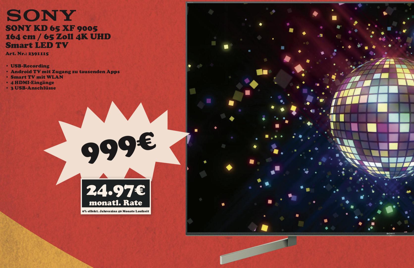 Lokal Mediamarkt München: Sony KD-65XF9005 164cm 4K UHD TV FALD für 999€