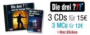 [AMAZON.DE] Die drei ??? im Sparpaket: 3 CDs für nur 15 EUR oder 3 MCs für 12 EUR