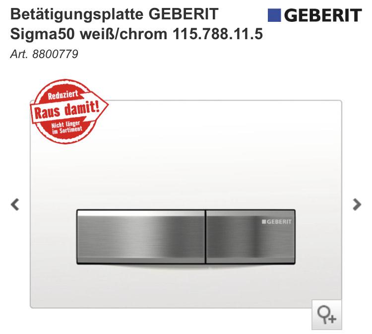 Betätigungsplatte GEBERIT Sigma50 weiß/chrom 115.788.11.5