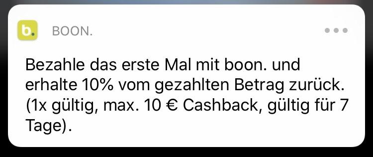 10% Cashback bei Boon für Neukunden (max. 10€)