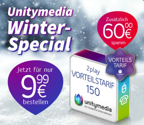 Unitymedia 2 Play Tarif Festnetz- & Internet-Flatrate mit 150 Mbits für effektiv 20,40€ im Monat