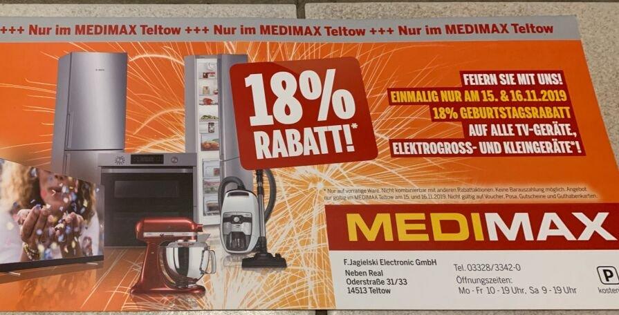 Medimax (Lokal) Teltow Brandenburg 18% auf TV und Elektrogross/Kleingeräte