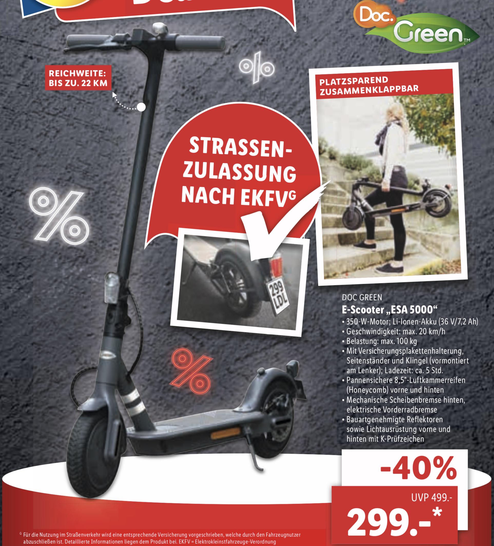 Lidl: E-Scooter Doc Green ESA 5000 - MIT Straßenzulassung! für 299€ - nur noch offline in den Filialen!