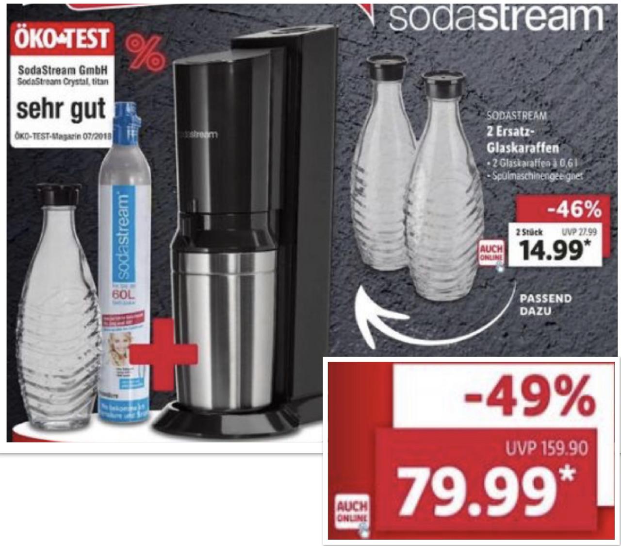 Lidl: SodaStream Crystal 2.0 inkl. Glaskaraffe u. Zylinder Titan für 79,99€ - Penguin Glaskaraffen 2 Stück für 14,99€ - Online u. Filiale