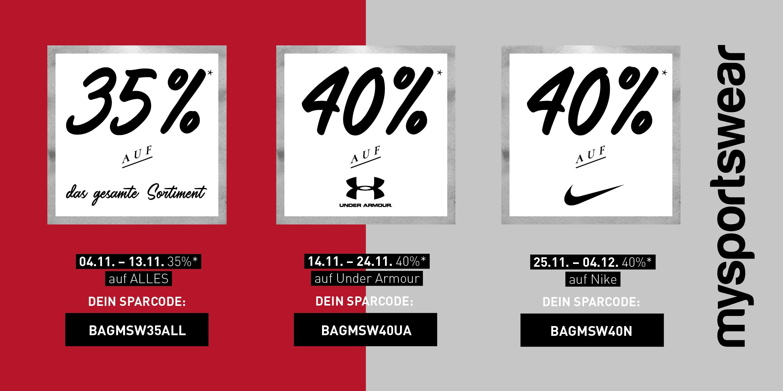 Update: 35 % auf Alles / 40 % auf Under Armour und Nike @mysportswear.de