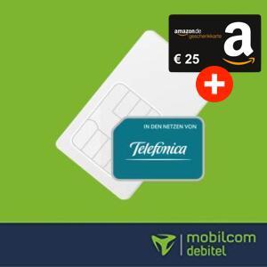 mobilcom-debitel Telefónica Allnet Flat (10GB LTE) für 14,99€ / Monat + 25€ Amazon Gutschein ohne Anschlussgebühr (monatlich kündbar)