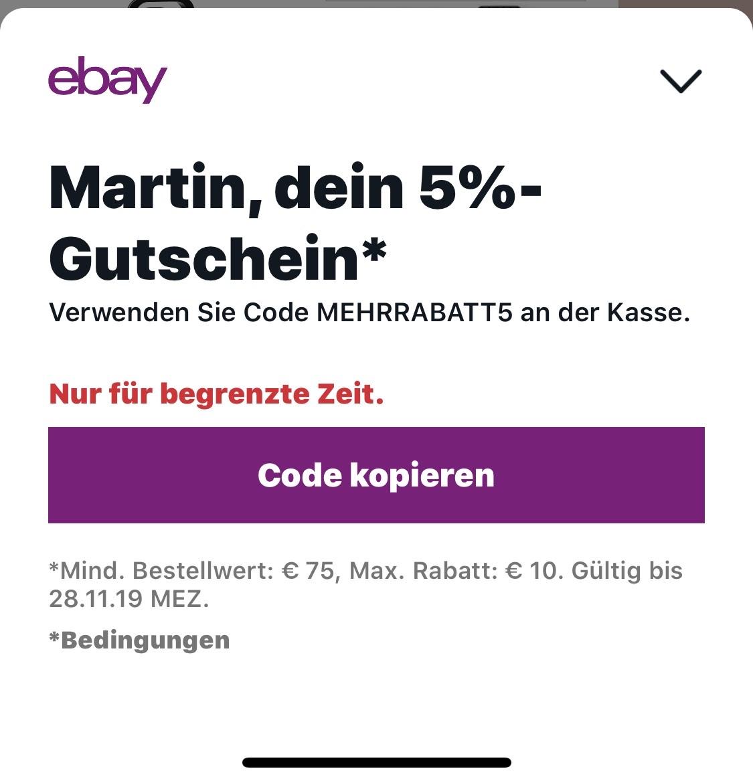 Ebay 5% - 15% [für auserwählte Kunden]