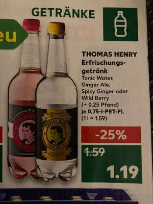 (Kaufland) Thomas Henry 0,75l Tonic Water / Ginger Ale / Wild Berry / Spicy Ginger