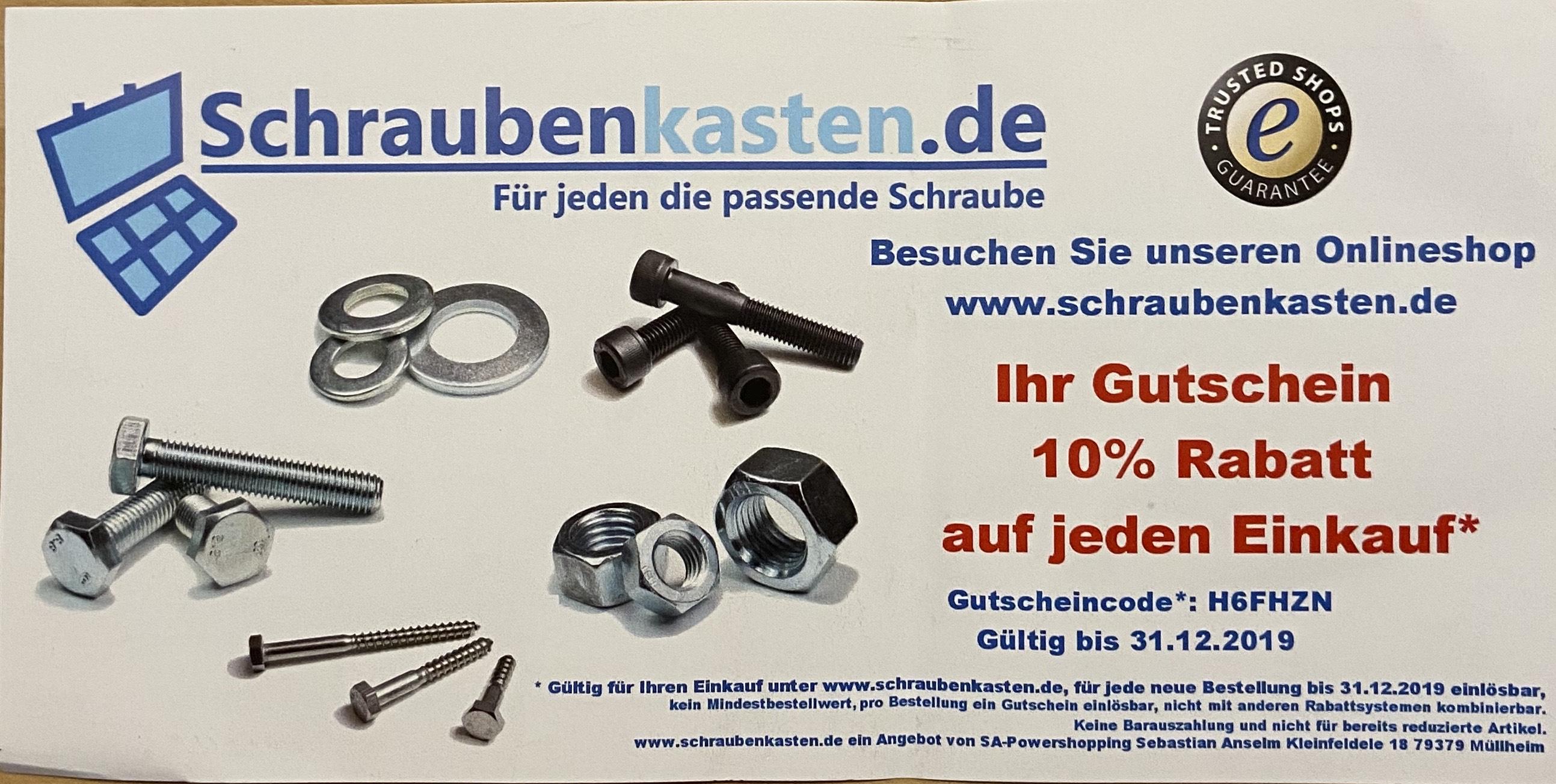 -10% Gutscheincode für Schraubenkasten.de