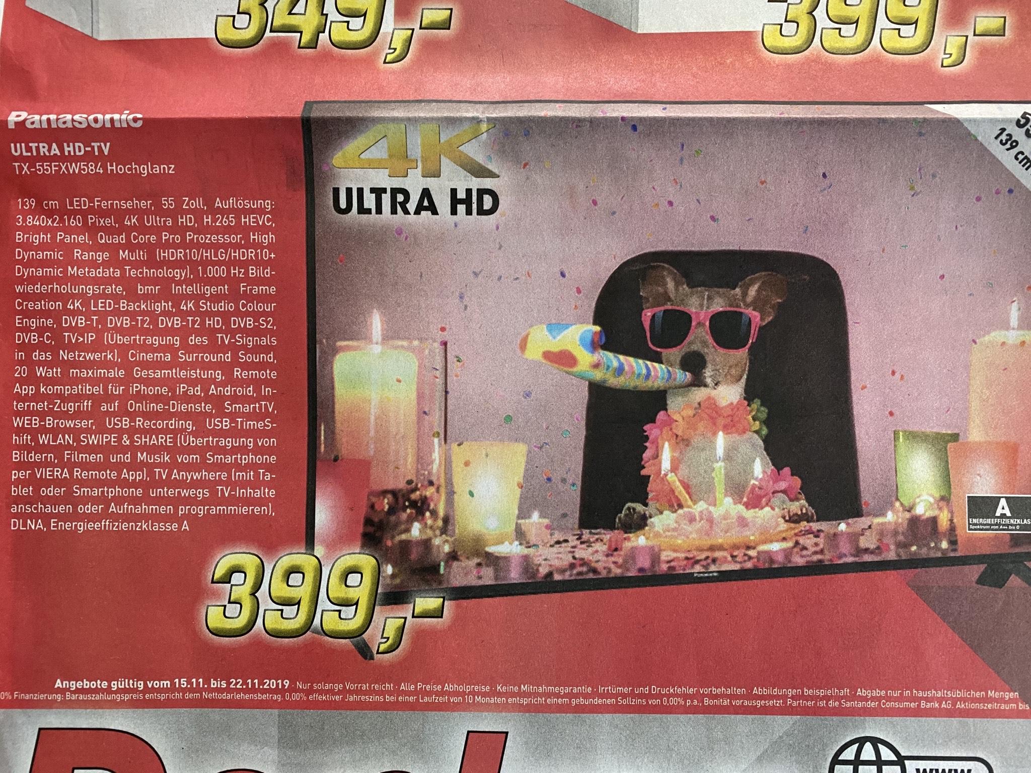 """Panasonic TX-55FXW584 - 55"""" UHD Fernseher mit Tripletuner für 399€ bei EP Denker in Borken(Westf.)!"""