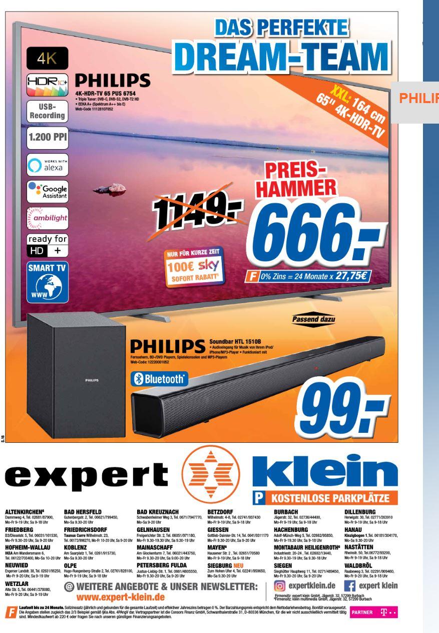 [Lokal Expert Klein] PHILIPS 65 PUS 6754 4K Ultra HD TV (Smart TV, 4K, HDR, USB-Aufnahme, Ambilight)