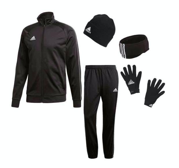 adidas Winterset (5-teilig) mit Trainingsjacke, Hose, Mütze, Halswärme und Handschuhen