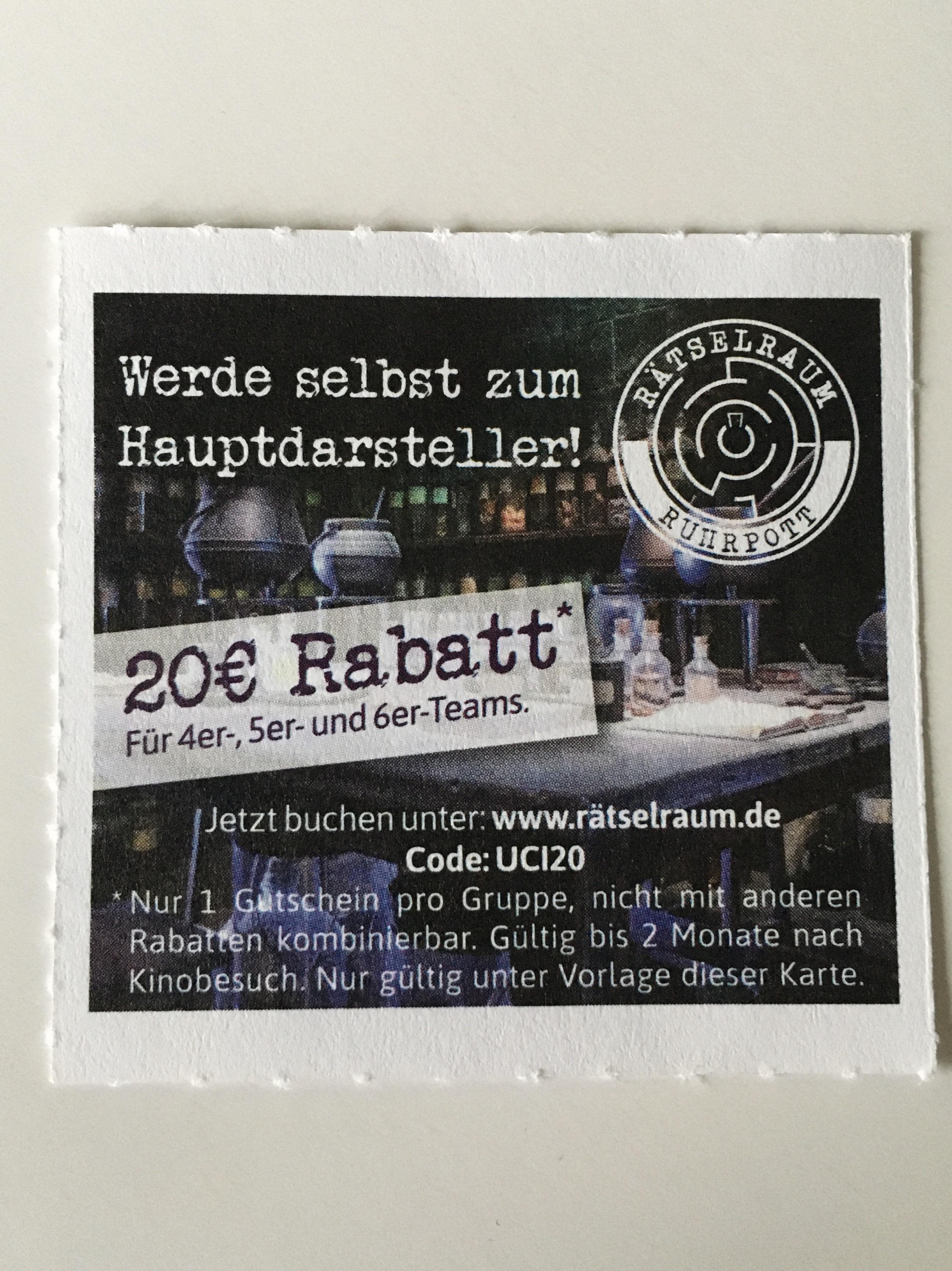 (Bochum Lokal) Rätselraum Ruhrpott 20 € Rabatt Escape Room