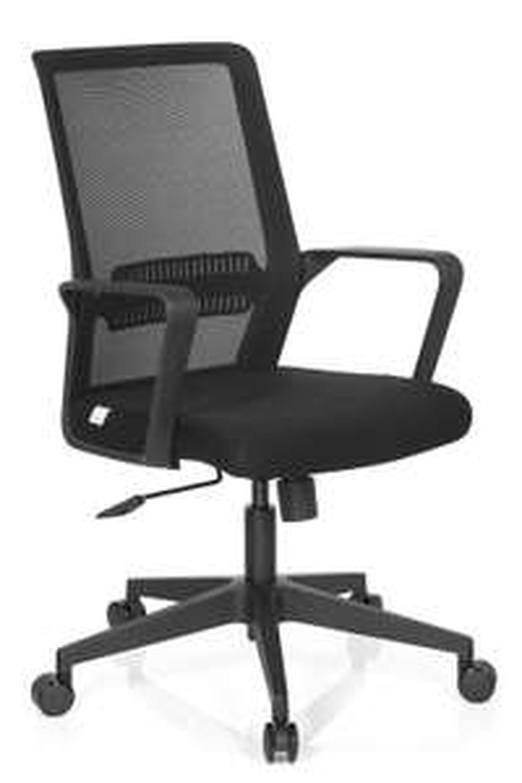 Bürostuhl hjh OFFICE Preston (höhenverstellbar, Wippmechanik, Lordosenstütze, Netz-Rückenlehne, 110kg Belastbarkeit, Polyesterbezug)