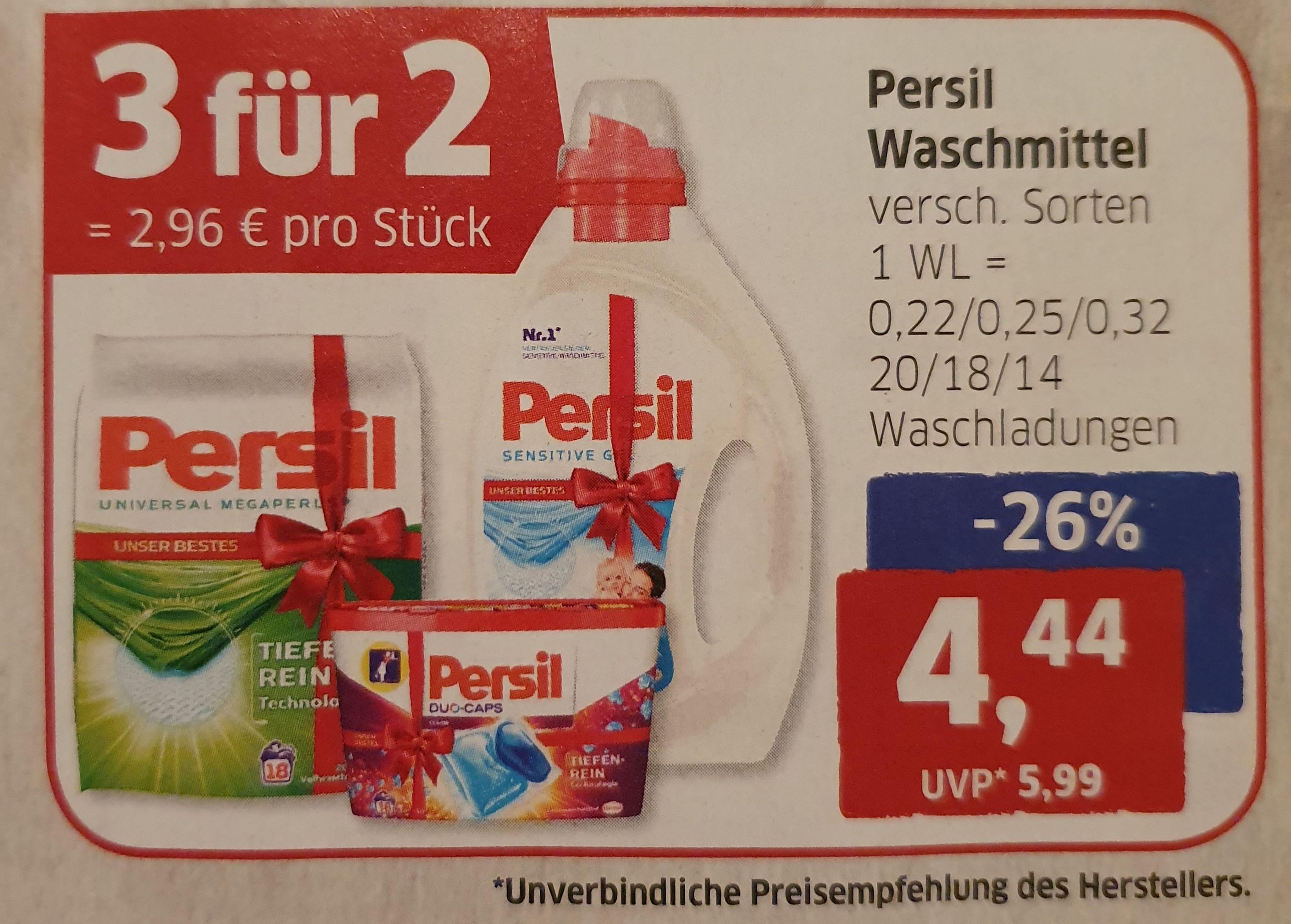 Budni ab 18.11. 3 für 2 (2,96€/Stk) Persil Waschmittel versch. Sorten