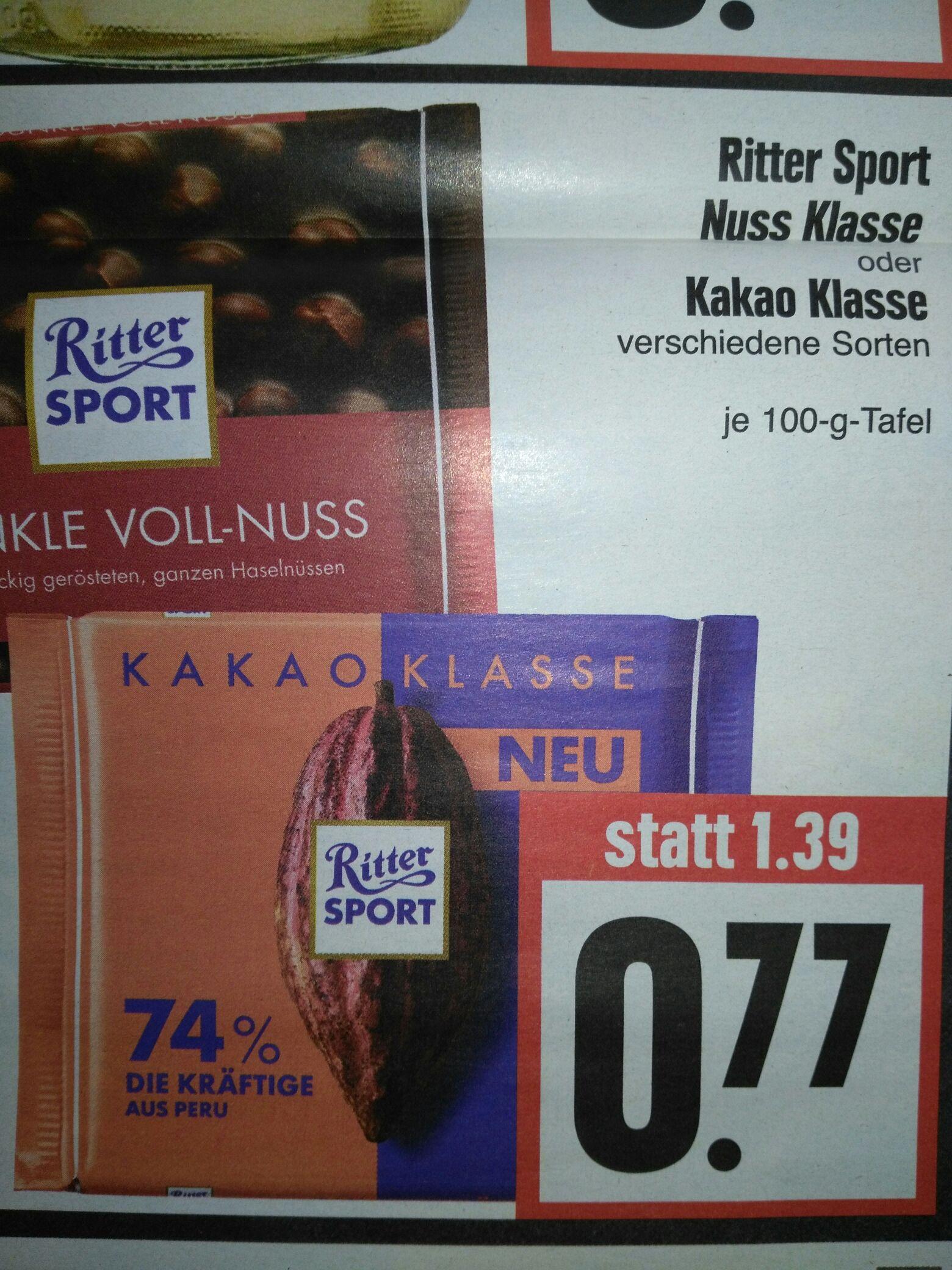Ritter Sport Nuss oder Kakao Klasse bei Edeka