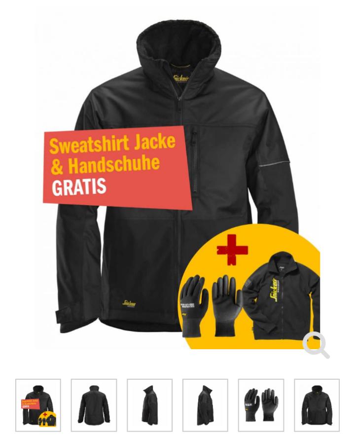 Snickers1148 AllroundWork Winter-Arbeitsjacke, schwarz + Sweatshirt Jacke + Handschuhe GRATIS