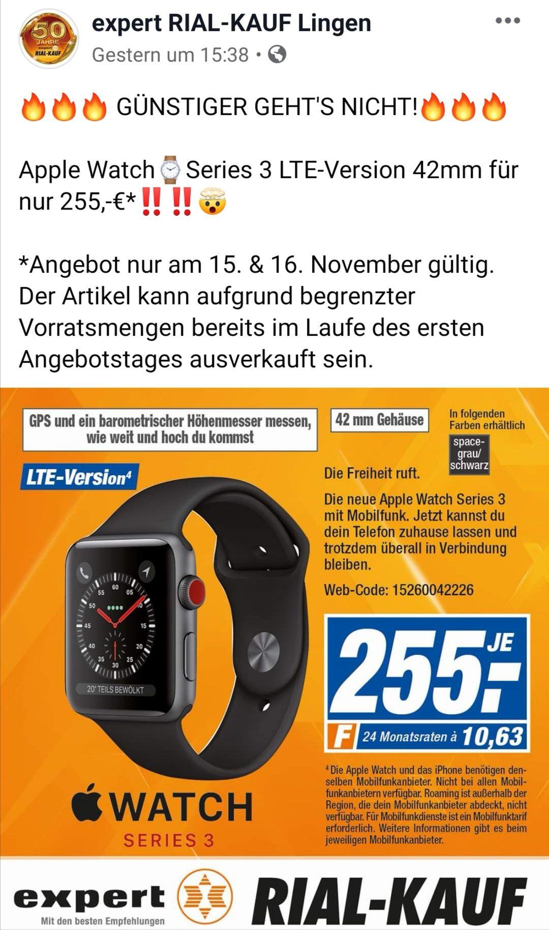 Apple Watch Series 3 LTE 42mm (Lokal Lingen)