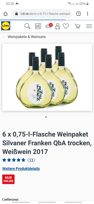 Für 10 € Weinpaket Silvana Franken 2017 trocken