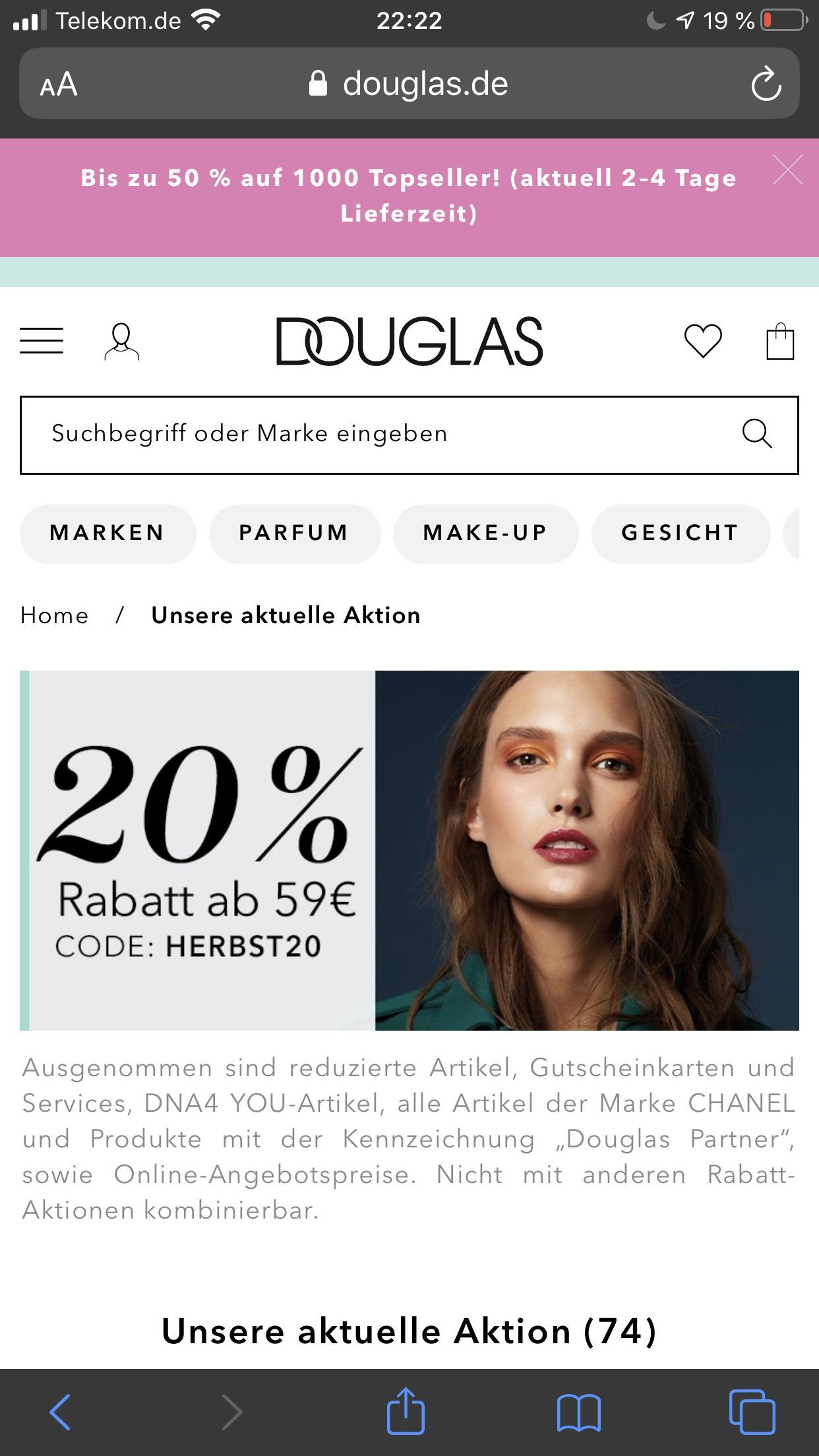 Douglas 20% Rabatt ab 59 Euro Einkaufswert