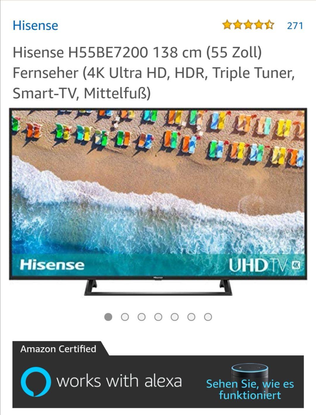 Hisense H55BE7200 138 cm (55 Zoll) Fernseher (4K Ultra HD, HDR, Triple Tuner, Smart-TV, Mittelfuß