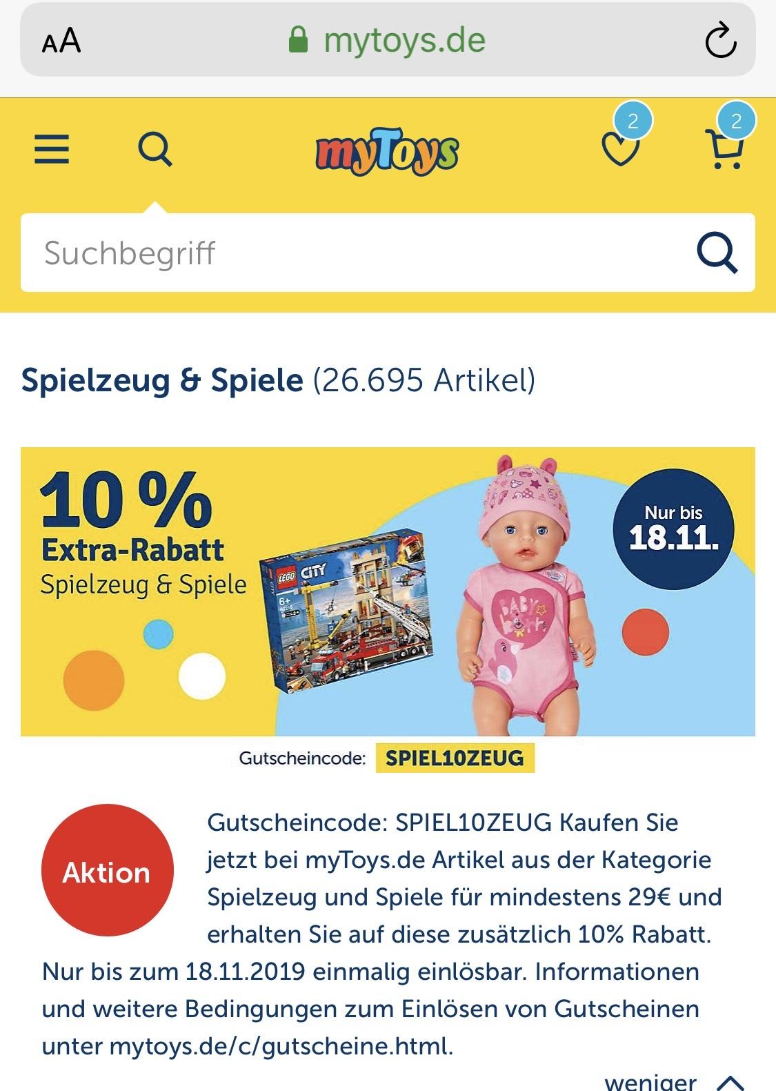 10% extra Rabatt auf Spiele und Spielzeug