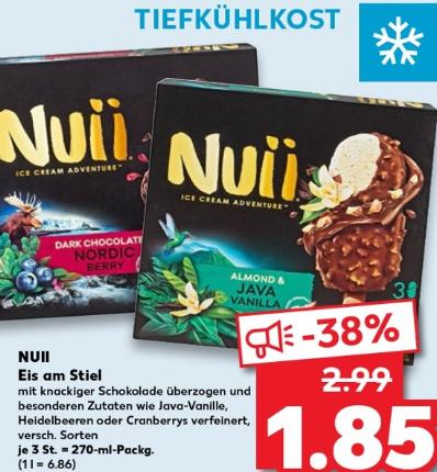 [Kaufland] Nuii Eis in verschiedenen Sorten 3x90ml für 1,85 Euro