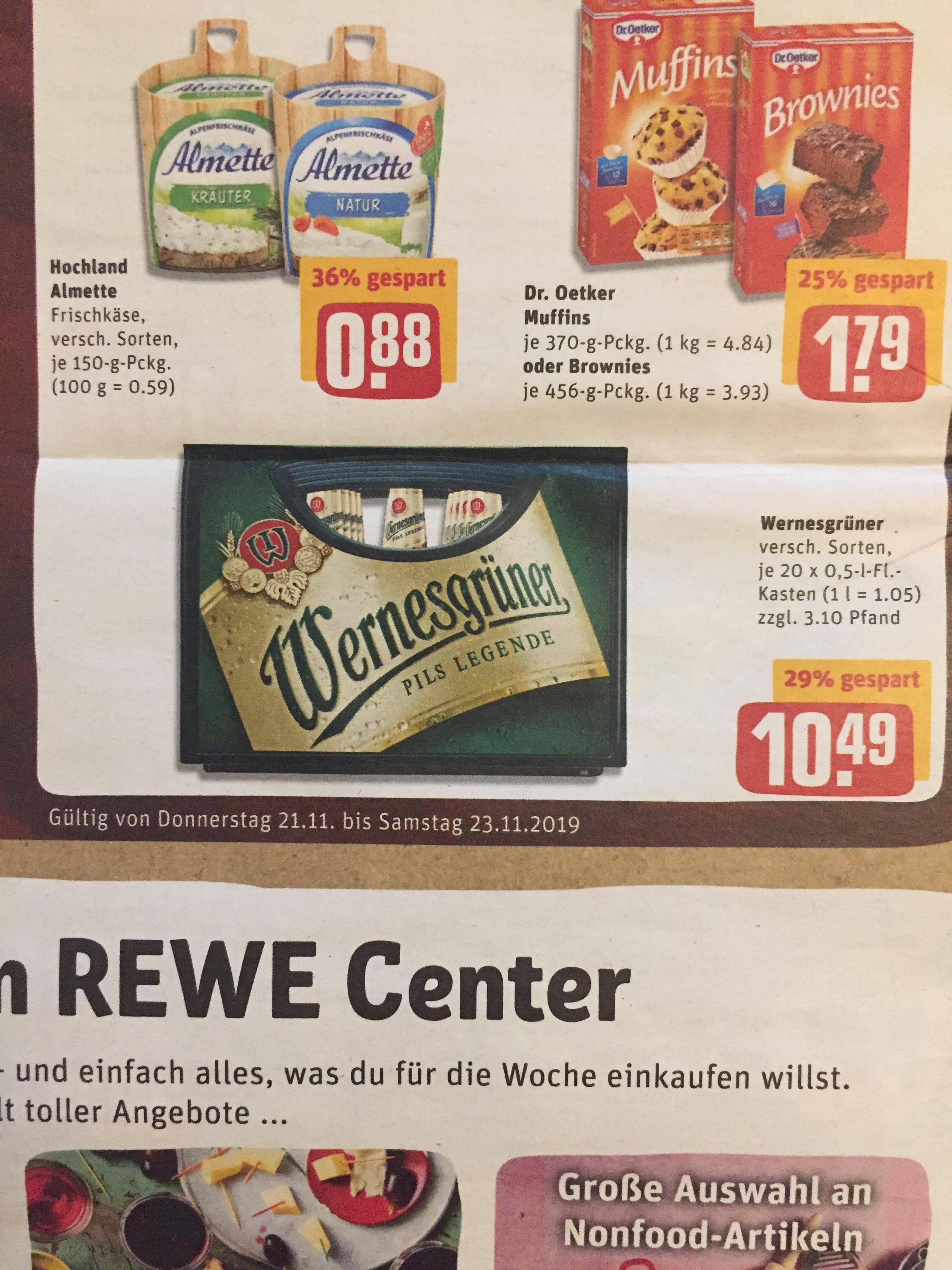 Im ReweCenter ist ab dem 21.11. Wernesgrüner im Angebot und Scondoo gibt 1€ Cashback
