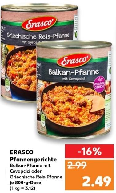 [Kaufland] Erasco Griechische Reis-Pfanne - Balkanpfanne mit Cevapcici ab 1,22€