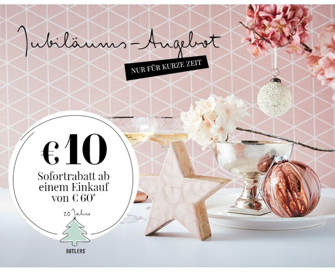 Butlers Onlineshop 10€ Sofortrabatt ab 60€ Einkauf