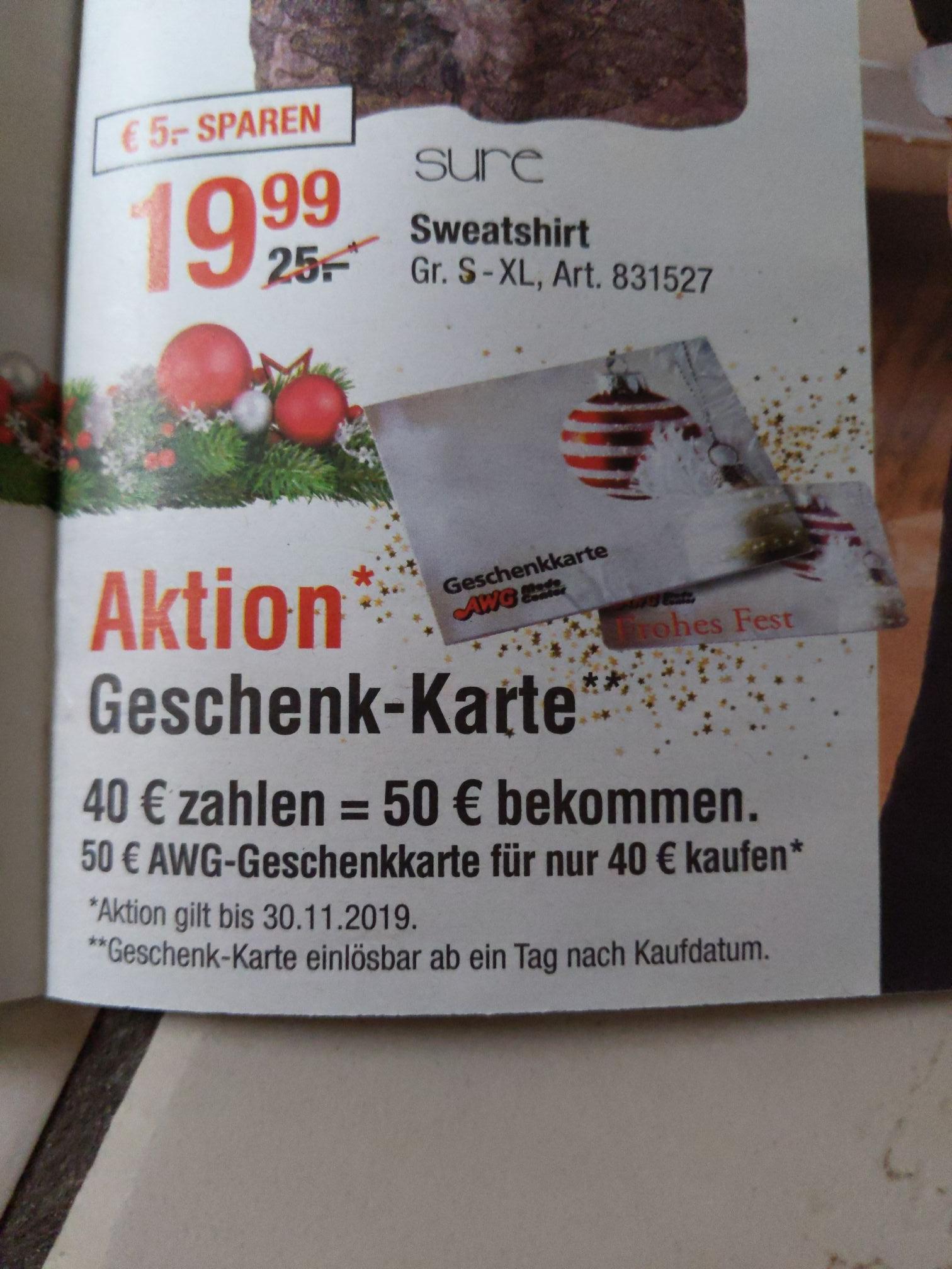 [offline] AWG Geschenkkarte für 40€ statt 50€