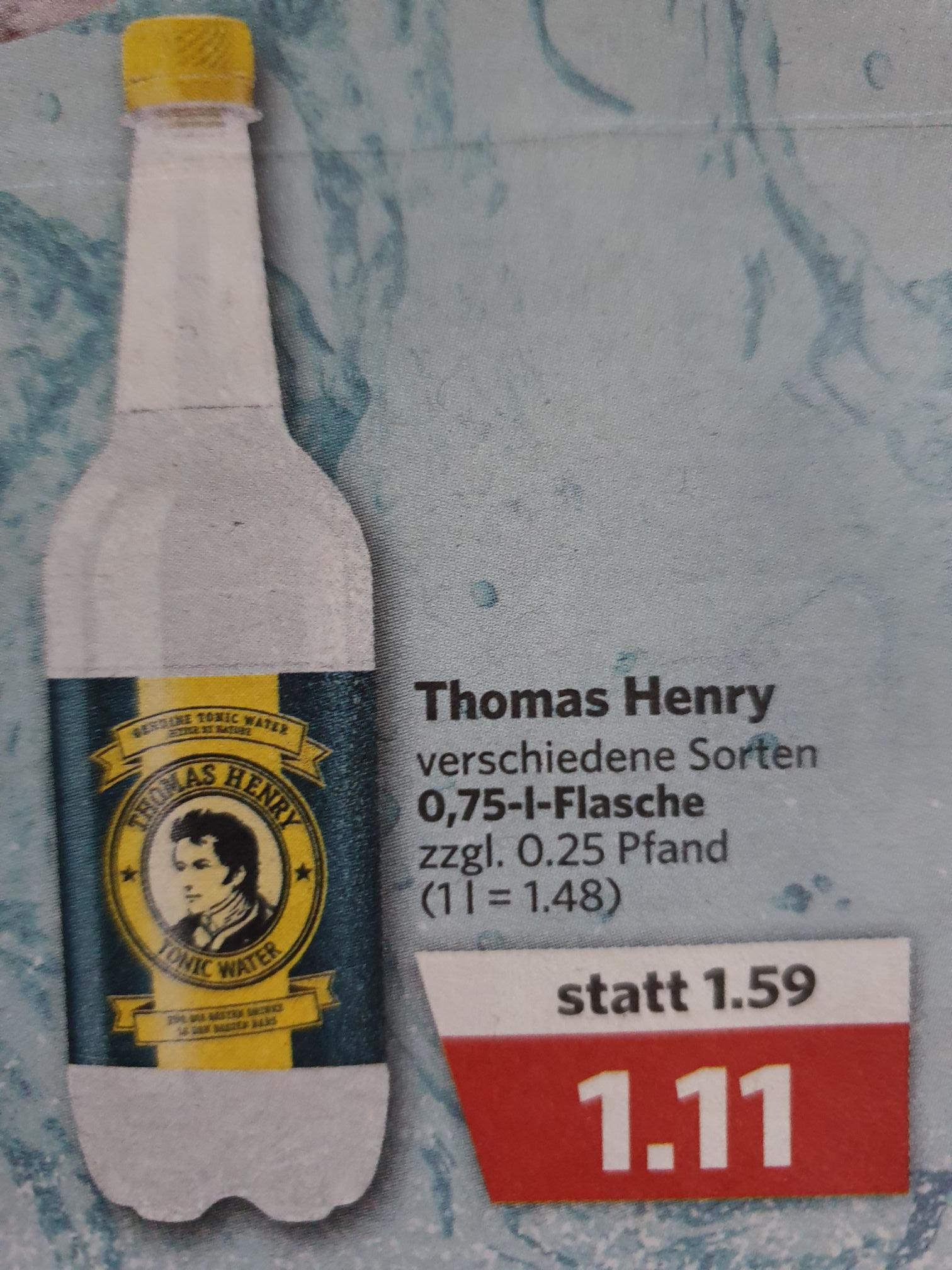 ( Combi-/Jibi-Märkte) Thomas Henry Tonic-Water 0,75l verschiedene Sorten oder 0,25l Fentimans 1,49€