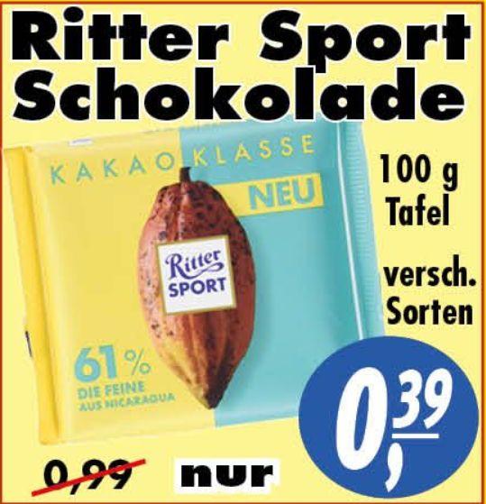 [LOKAL Aurich] Ritter Sport Schokolade (100g Tafel) versch. Sorten für 0,39€ @ HAWO