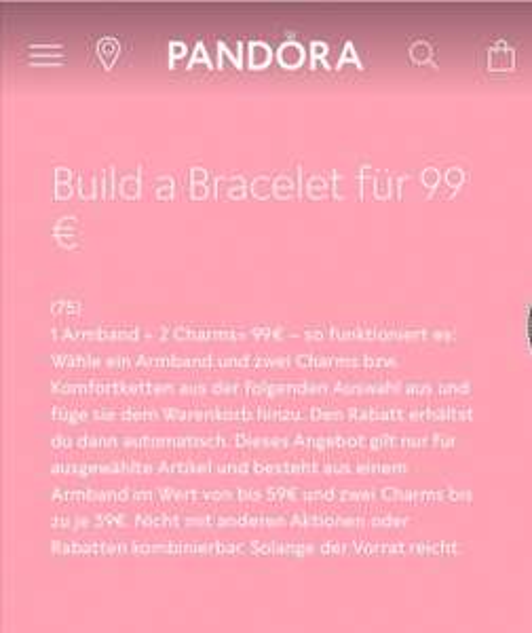 Pandora Armband + 2 Charms für 99€
