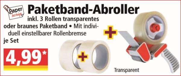 Paketband-Abroller inklusiv 3 Rollen Paketband für 4,99 Euro [ Norma ]