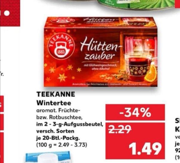 Kaufland Teekanne Versch. Sorten für 1,24 €. Pro Packung da Coupon gültig beim Kauf von 2