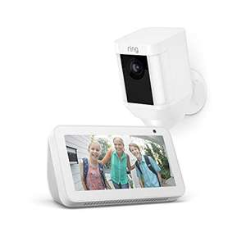 Ring Spotlight Cam Battery/Ring Spotlight Cam Wired, Weiß + Echo Show 5, Weiß