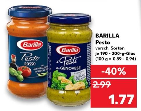 [Kaufland offline ab 25.11.2019 (nicht Bundesweit)] Barilla Pesto versch. Sorten für 1,77 €