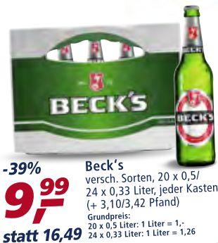 Beck´s Bier bei REAL Markt verschiedene Sorten