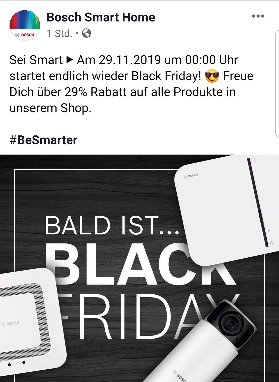 Bosch Smart Home Shop 29% Rabatt zum Black Friday