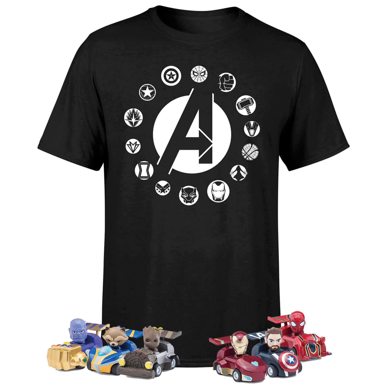 Marvel Avengers Beast Kingdom Shirt + 6 Marvel Kugelschreiber + 6 Marvel Spielzeugautos