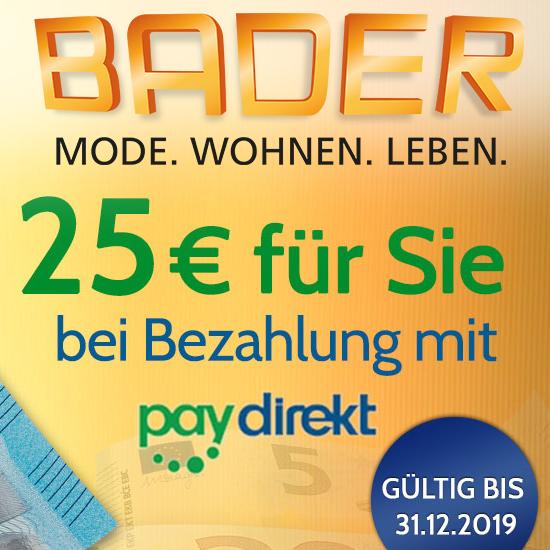 25€ Rabatt ab 50€ mit Paydirekt bei BADER + 10€ Newsletter-Gutschein kombinierbar
