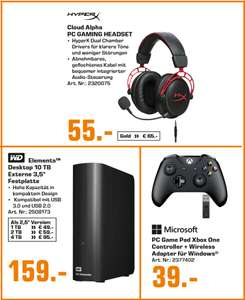 Kingston HyperX Cloud Alpha Headset =55€ | Microsoft Xbox Wireless Controller + Adapter =39€ | WD Elements 10TB für 159€