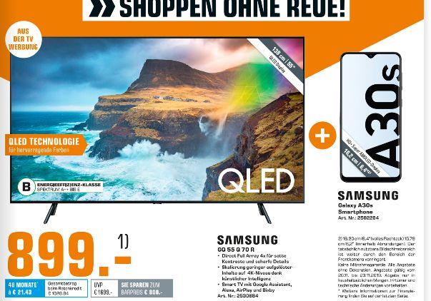 [Saturn] Samsung Qled Q55Q70R 55 Zoll 4K UHD Smart TV + Samsung A307 Galaxy A30s LTE 64GB dual schwarz für 899,-€