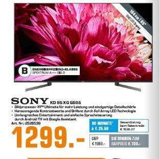 [Saturn-Nur Filialabholung] Sony KD-65XG9505 XG95 Full Array LED 4K Ultra HD HDR Smart TV Android TV für 1299,-€