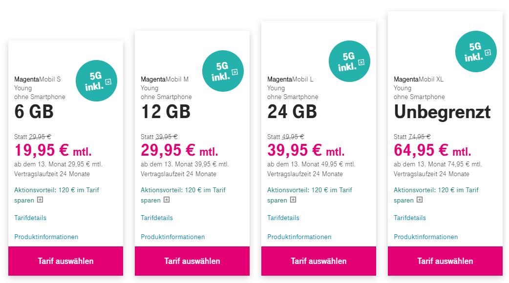 MagentaMobil Young in den ersten 12 Monaten um 10€ reduziert